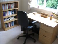 Home Office Suite of Abacus Filing Desk in oak with matching bookshelves & office chair