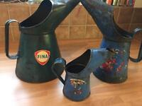 Very very rare x 3 FINA oil pourers / jugs / cans