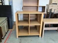 Two four section oak bookcases