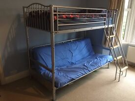 Silver Metal Single High Sleeper/Cabin Bed With Futon Sofa Bed Underneath
