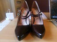 Dune size 5 oxblood patent leather high stileto heels never worn