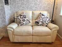 2 Seater Leather Recliner Ivory