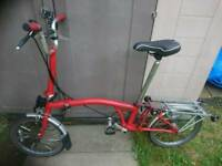 Brompton bike / Bicycle 3 SPEED FOLDING Red In fully working condition