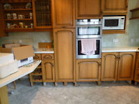 Kitchen cupboard doors & drawer frontals, solid oak, complete set from large kitchen PRICE DROP!