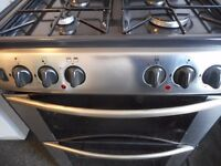 belling brand dual fuel/double oven gas cooker..black with s/ steel.