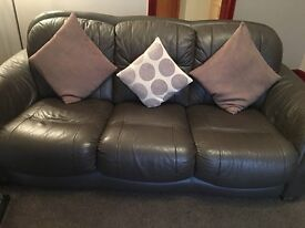 Dfs brown Italian leather suite 3& 2 seater