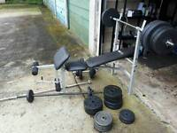 Weights bench, 3 bars, dumbbell set, 130kg weights.