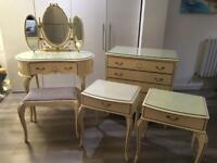 French Louis style Chest drawers, Dressing table Bedsides and stool