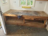 Wooden work bench with Vice and other items