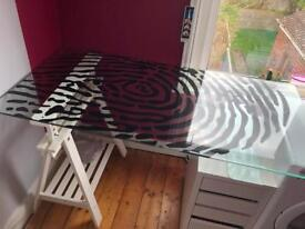 Ikea desk with a glass fingerprint design topper, easel leg and set of draws