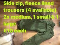 Fleece lined trousers