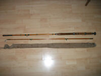 Two piece bamboo fishing rod, no brand marked