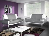 GREY/WHITE OR BLACK/RED FAUX LEATHER 3 SEATER AND 2 SEATER CAROL SOFA SET -SAME DAY FAST DELIVERY