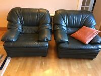 Leather Armchairs - Dark Green - 2 off