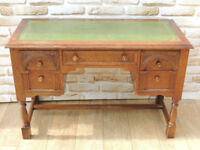Oak Desk with drawers green top (Delivery)