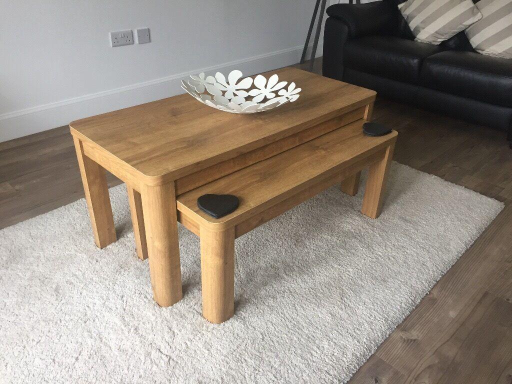 Next Barlow Oak Veneered Coffee Tables And Tv Unit