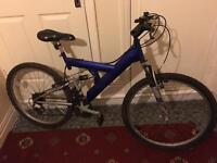 "Adult bike blue 26"" full suspension."