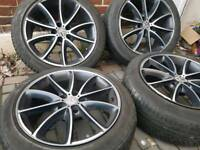 18 inch AEZ Excite Original Diamond cut Alloy Wheels with tyres 5x120 T5 Transporter BMW etc