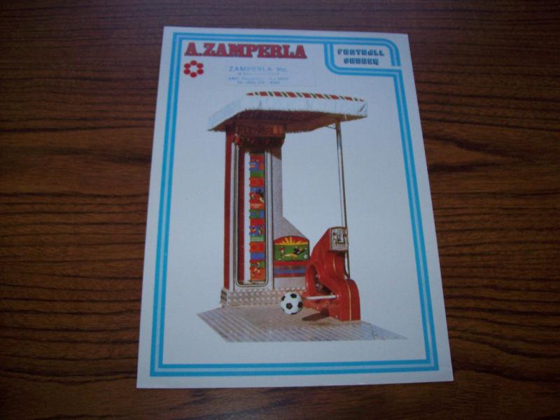 ZAMPERLA FOOTBALL SOCCER BOARDWALK ARCADE GAME FLYER