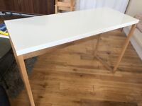 Solid Oak And White Metal Console Table Desk (Habitat)