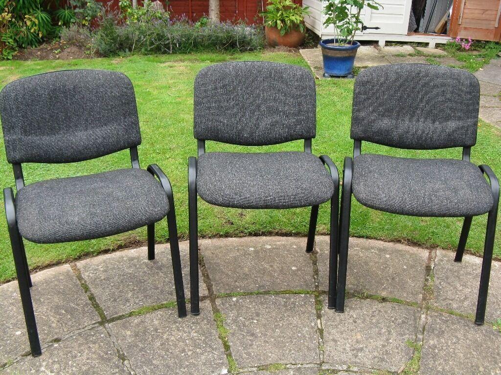 3 charcoal grey waiting room chairs