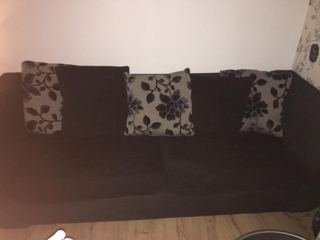 3&4 seater black and grey couch
