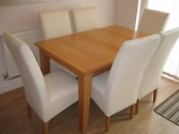 Light Oak Solid Extendable Dining Table & 6 Upholstered Chairs