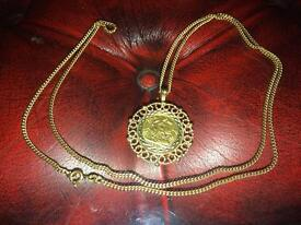 Half Sovereign chain and pendant 1901