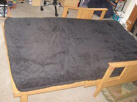 Sofa Bed for sale Pine wood frame. Black sofa/mattress.