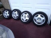 MERCEDES 2002 CLK CONVERTIBLE SET OF 16 INCH ALLOY WHEELS & TYRES NAZEING