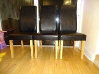 3x Black Dining Chairs