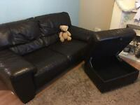 Dfs 2 seater sofa and storage stool