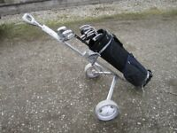 Left Handed Golf Clubs, With Bag & Trolley.
