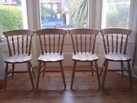 Set of 4 Original Vintage Waxed Beech Kitchen Dining Chairs