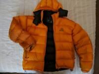 Mens orange Mountain Equipment coat, medium.