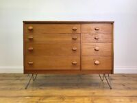 Retro Stage Chest of Drawers on Hairpin Legs - Vintage Danish G Plan Ercol TV Stand Unit Sideboard