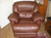 brown leather electric armchair
