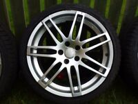 VW / Audi RS Style 19 inch Alloy wheel with good tyre, but tyre has a screw in it so needs repair