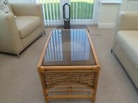 Cane Coffee Table & Matching Magazine Rack