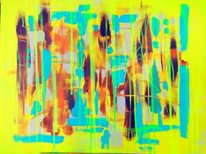 "NEON NAVAHO Original Painting 32x24"" Bright Colorful Abstract Art Neon Yellow Turquoise Orange Brown OAKVILLE"