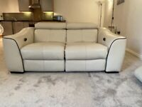 2 seater cream leather electric recliner sofa