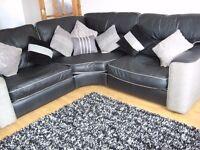 corner sofa leather black scs