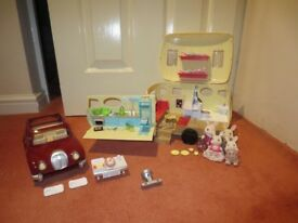 Sylvanian families caravan, car and family
