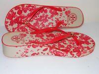 Tory Burch Designer Ladies Wedge Flip-Flop – Red Floral Pattern