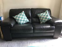 Black Leather 2/ 3 seater sofa - Good condition