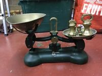 Vintage Librasco balancing scales & 7 imperial bell weights