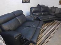 BLACK LEATHER SOFA SET RECLINERS 2+2 SEATER