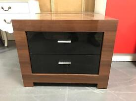 Gloss Walnut And Black Bedsides