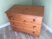 Pine-Effect Chest of Drawers & Bedside Table.