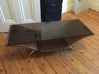 Techlink Glass chrome and suede retro TV stand/ coffee table